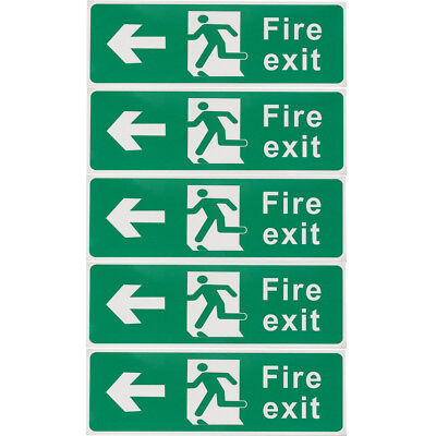 5pcs Emergency FIRE EXIT Left Side Vinyl Stickers Safety Signs Decal 30x10cm