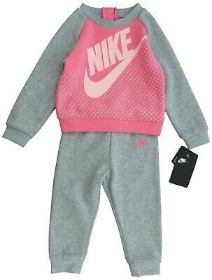 NIKE Girls fleece TRACKSUIT 2Y Jacket & Jog pants Pink & Grey BNWT