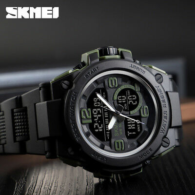SKMEI Fashion Men's Smart Watch PU Analog Digital Sports Wrist Watch Waterproof