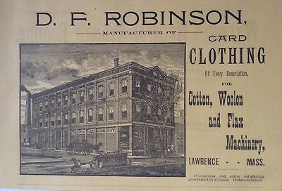 1890 Ad(H23)~D.f. Robinson Co. Lawrence, Mass. Card Clothing For Cotton And Wool