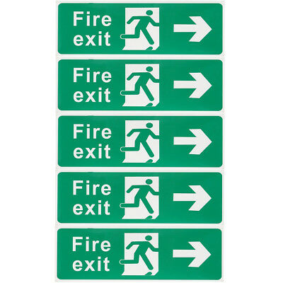 5x Fire Exit Right Self-adhensive Vinyl Stickers Safety Signs Driection 30x10cm