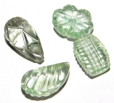 Green Amethyst Carving Natural Cabochon Loose Gemstones Lot 29Ct. 4Pcs SA28166