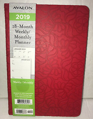 NEW Avalon 2019 Weekly Monthly Planner Calendar Red Textured 18 Month 6x8