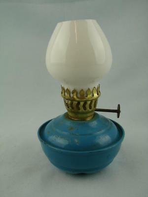 Superb Vintage Blue Enamel Hand Held Kelly / Pixie Oil Lamp Opal Glass Shade