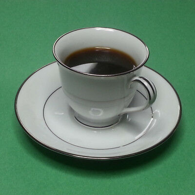 Noritake Espresso Cup with Saucer Bone China Japan White with Silver Trim