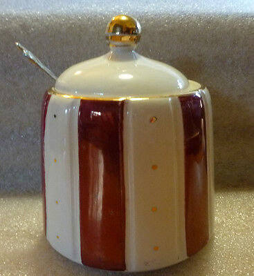 H J Wood Vintage Jam Pot Burgundy/Cream stripes