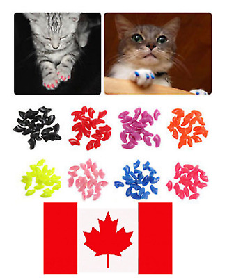 20 Soft Nail Caps for Cats with Adhesive Choose Colour & Size