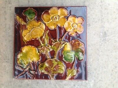 Old Majolica Tile Floral Arts And crafts Heavily Embossed