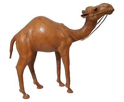 Camel Leather-Wrapped Large Standing Figure, Nice Expression, Halter & Reins