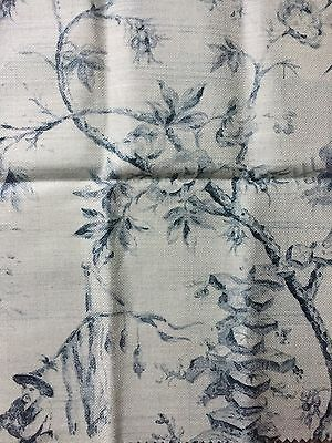 """Travers """"Cathay"""" Slate Blue on Off White Remnant Linen Blend  15.5"""" x 15.5"""""""