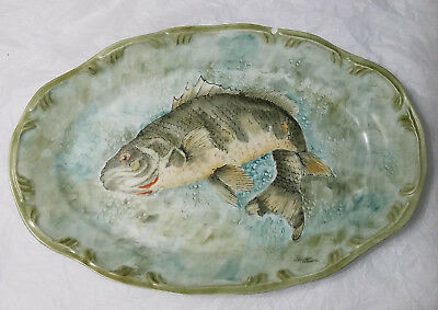 Fish Platter Dish Porcelain Schmidt Possibly Bass Signed