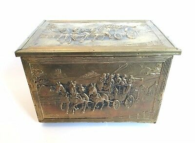 Vintage 20th Century Brass Stagecoach Horse Repousse Fireplace Kindling Box
