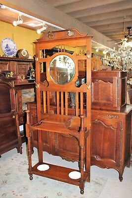 Mahogany William & Mary Antique Hall Tree Stand Hat Rack w Mirror Storage Hanger