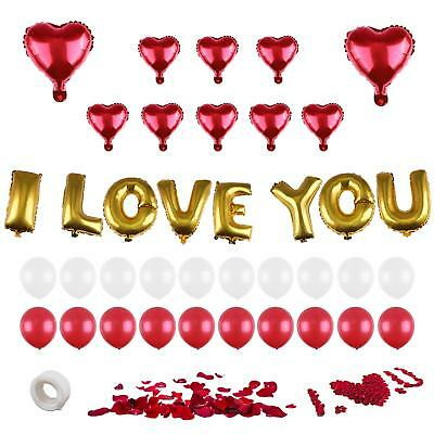 Valentine Decorations I LOVE YOU - Balloons Kit, Heart Foil Balloon Red - Day -