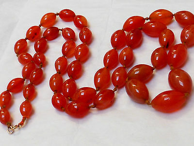 CHINESE ANTIQUE / Vintage CARNELIAN AGATE BEADS NECKLACE, 224grams