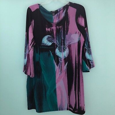 889287af9cbe23 ALFANI WOMENS TOP Black Purple Blue Orchid Tunic Stretch 3 4 Sleeve Size 1X  -  19.99