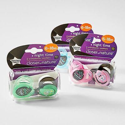 NEW Tommee Tippee Closer To Nature 6-18 Months Night Soother 2 Pack Assorted