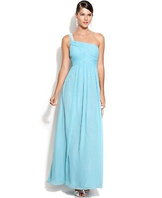 EUC Calvin Klein womens One-Shoulder Embellished Ruched gown dress size 14