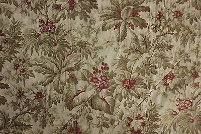 Valance Antique French c 1870 Quilted textile bed hanging faded greens & reds