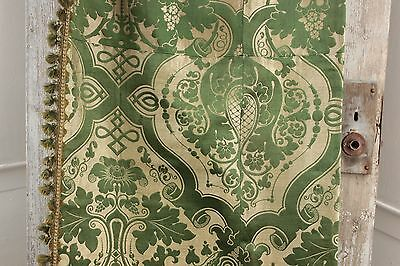 Silk Brocatelle antique French green bed curtain hanging  w/ trim brocade