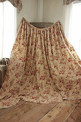 Antique Curtain French faded floral c 1890 bed LARGE drape yellow ground