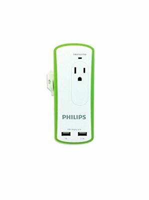 Philips SPP6020A/37 Travel Surge Protector with 2 AC Outlets & 2 USB Ports