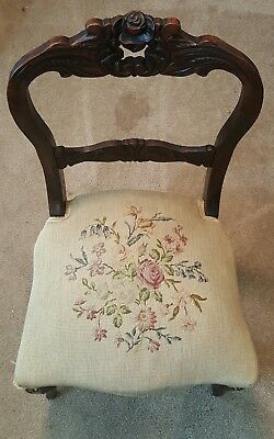 Vintage Rose Back Wooden Chair With Original Seating Cover