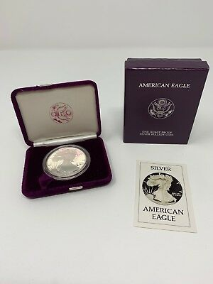 American Eagle One Ounce Proof Silver Bullion Coin 1986 with Box & COA