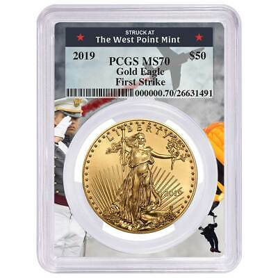 2019 $50 American Gold Eagle 1 oz. PCGS MS70 First Strike West Point Frame