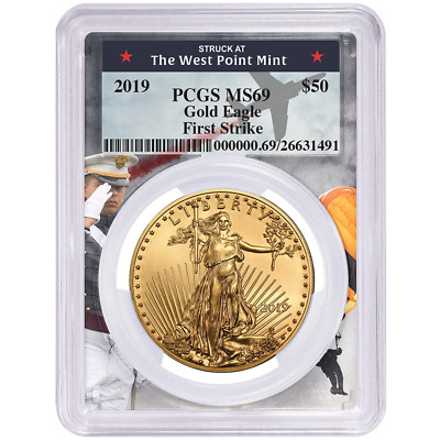 2019 $50 American Gold Eagle 1 oz. PCGS MS69 First Strike West Point Frame