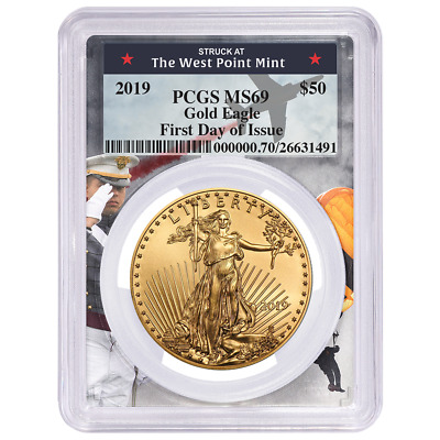2019 $50 American Gold Eagle 1 oz. PCGS MS69 FDOI West Point Frame