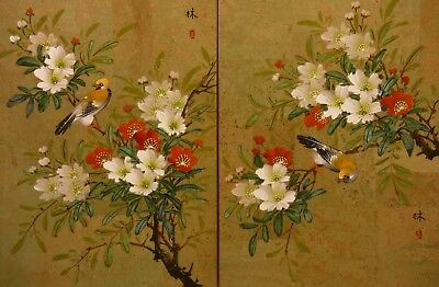 """CD070 plum blossom birds 16""""x12"""" pair watercolour paintings on cork faced paper"""