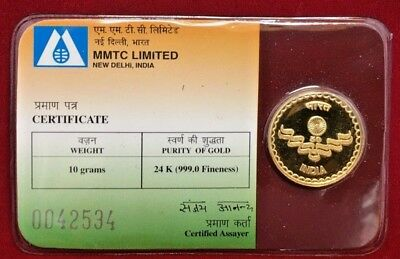 Rare MMTC India 24 K Gold Medallian 50 Yrs Independence
