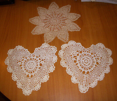 Crocheted Doily Doilly Valentine Hearts (2) & Star (1) Lot of 3 pieces