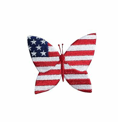 8d448132331 ID 1084Y AMERICAN Flag Butterfly Patch Patriotic Embroidered Iron On ...