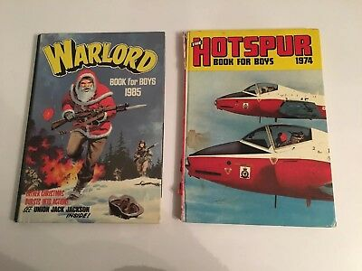 2x Vintage Warlord Hotspur Book For Boys 1974 1985 Annual War Books Comic Bundle
