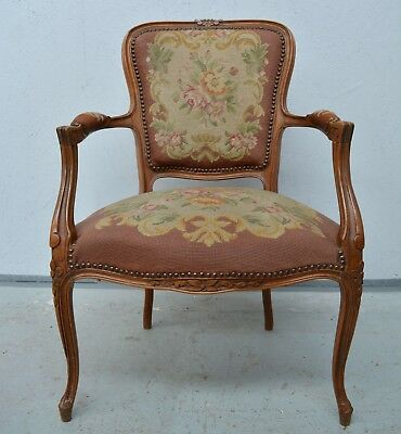 Antique French Louis XV Bergere Fauteuil Armchair Upholstered Rose