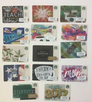 Lot of 14 Gift Cards Starbucks  COLLECTIBLE NO VALUE  NEW___