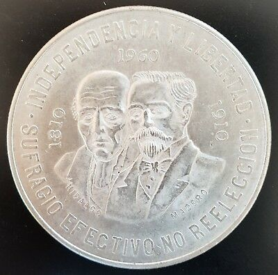 1960 Mexico Diez Peso. (150th Anniversary) uncirculated coin. 90% Silver......