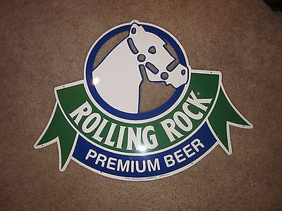 Rolling Rock Premium Beer Horse Racing Metal Sign Vintage Bar 1993 Man Cave Pub