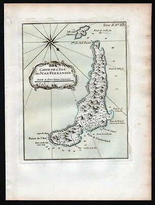 1764 - Juan Fernandez Islands Chile South America Bellin handcolored antique map