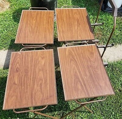 Set of 4 Vintage Modern Faux Wood Serving TV Trays with Handles and Rolling Stan
