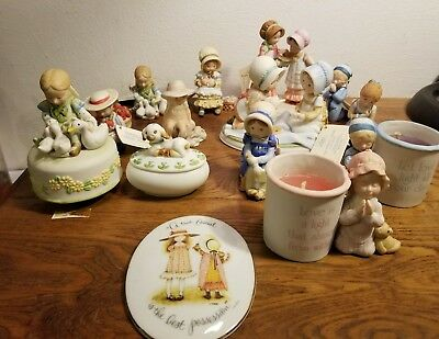Lot Of Vintage Holly Hobbie 13 Porcelain Figurines & 1 Plaque--Most with Tags