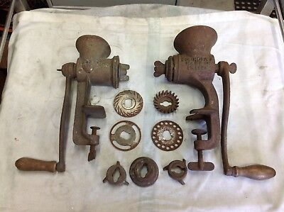 Vintage Meat Grinders. Hand Operated. Made In Sweden and USA. Extra Cutters Etc.