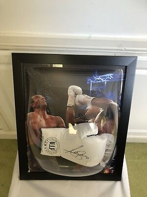 Anthony Joshua  Signed White VIP  Boxing Glove Dome Framed + photo Proof + COA