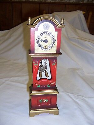 Mini Red Germany Grandfather clock w/key