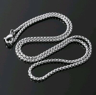 """2mm High Quality Silver 316L Titanium Stainless Steel box Chain Necklace 22"""""""