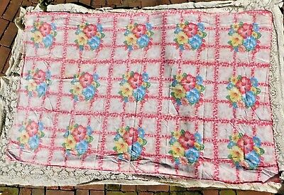 VINTAGE 1940's  / 1950's PINK BLUE RED FLOWER COTTON TABLECLOTH 48 by 78