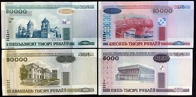 Lot 4 Belarus 2000 Series Uncirculated Banknotes 50000 20000 10000 5000 Rubles