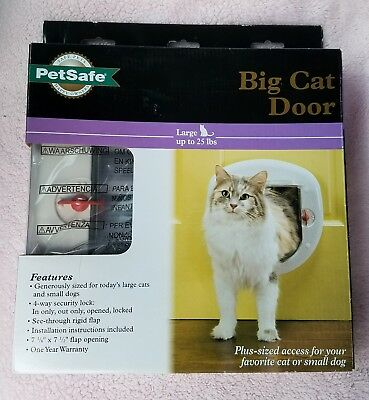 Petsafe Big Cat Door 4 Way Locking White Interiorexterior Ppa00